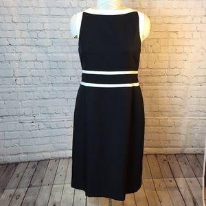 Evan Picone formal black /white boatneck dress